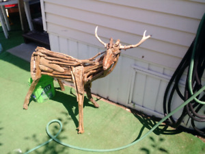 Life-size baby deer made from driftwood