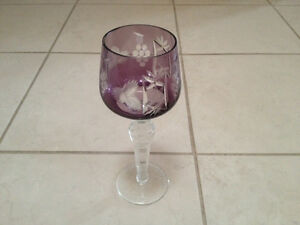 Amethyst Purple Cut to Clear Crystal Wine Glasses New in Box