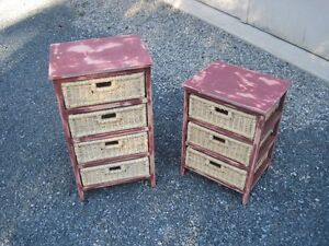 2 Mini Wood Framed Dressers or End Tables with Basket Drawers