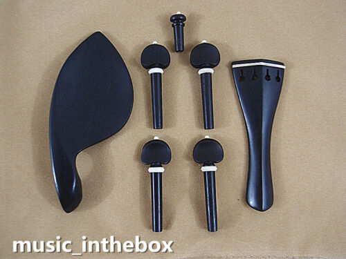 New 4/4 Violin Ebony Accessories Set - Pegs/Endpin/Tailpiece/Chinrest #AC-02