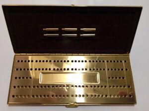 VINTAGE - ONEIDA - BRASS METAL - TRAVEL CRIBBAGE BOARD GAME