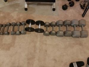 Dumbbells (360lb total) + small dumbbell rack