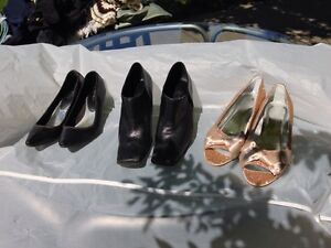 Variety of shoes, Nine West, black leather, gold shimmer shoes London Ontario image 1