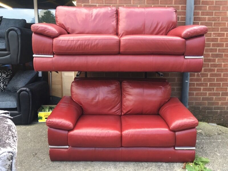 Ex Littlewoods designer primo red Italian leather 3 and 2 seater ...