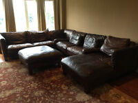 Luxury leather sectional & ottoman