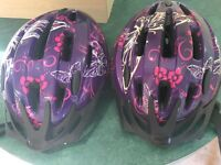 Girls challenge cycle helmets x2