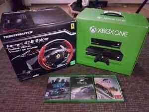 For sale xbox one 500g with wheel and 3 games