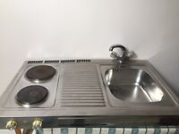 Electric hot plates and sink combination unit