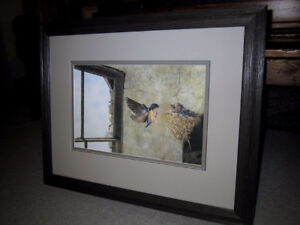 """""""BARN SWALLOWS NESTING ON STONE WALL""""–BEVERLY SPICER-LE"""