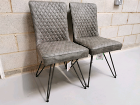 2x Furniture Village Earth Retro Industrial Grey Faux Leather Chairs