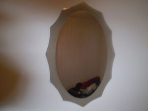 "ANTIQUE OVAL MIRROR ( 1977 ) London  26""  x 19"""