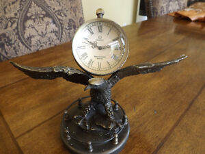 STATUE: Bronze Copper Eagle & Mechanical Clock OMEGA.