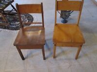 OLD SCHOOL CHAIRS (WOODEN) PAIR