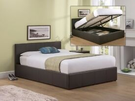 70% OFF: BRAND NEW OTTOMAN STORAGE GAS LIFT UP BED FRAME BLACK BROWN ** SINGLE, DOUBLE,KING SIZE