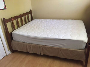 queen bed frame, box, matrress
