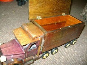 FOLK ART WOODEN TRUCK WITH STORAGE COMPARTMENT