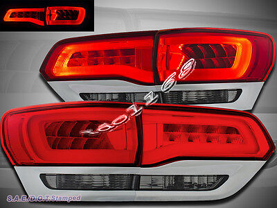 2014 2015 Jeep Grand Cherokee Limited LED Tail Lights Red Smoke 4pcs (2015 Jeep Grand Cherokee Smoked Tail Lights)