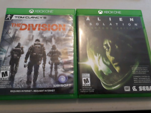 Xbox one XB1 games Alien Isolation, Tom Clancy's The Division