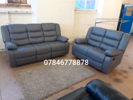 Available black or grey leather recliner sofa