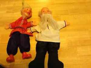 VINTAGE 50s RUSSIAN PINNOCHIO & GISSEPPO HAND PUPPETS