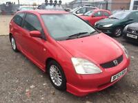 2004/53 Honda Civic 1.6i VTEC 16in Alloys Sport ONE LADY OWNER FROM NEW
