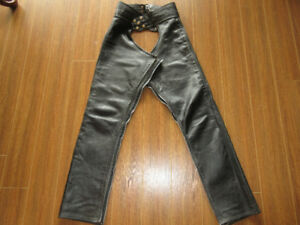 "Leather motorcycle chaps, small, 32"" leg"