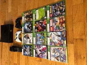 Xbox 360 console, 12 games, 2 controllers, and charging station