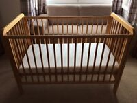Standard size cot including matress