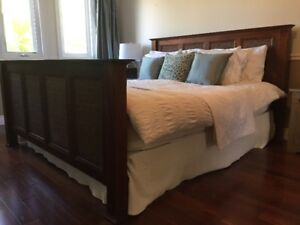 Rattan and wooden king size bed frame