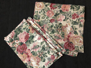 Floral shower curtain with valence