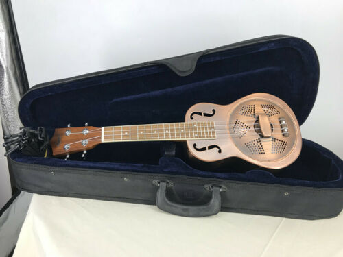 Aiersi Brand Distressed Red Copper Bell Brass F hole Concert Resonator Ukulele
