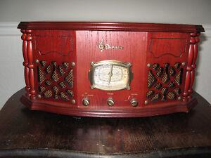 radio et tourne-disque en bois look antique vintage