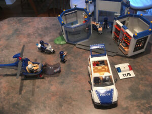 Playmobil Police Station, helicoper, Cruiser and Motorcycle