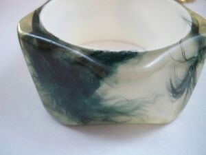 Vintage Resin Bracelet Clear with Green Feathers Stunning