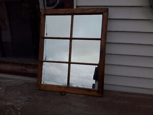 ANTIQUE MULTI PANEL WIDOW GLASS MIRROR PINE FRAME $55.00