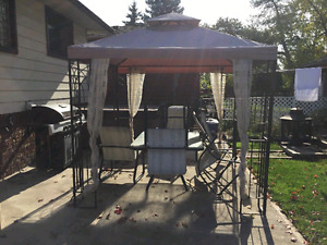 (BEST OFFER!!!) Gazebo with Matching Table and (6) Chairs