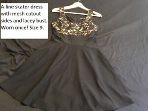 A-line skater dress with mesh cutouts and lace, size 9