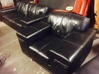 As new black leather 3 11 sofa set