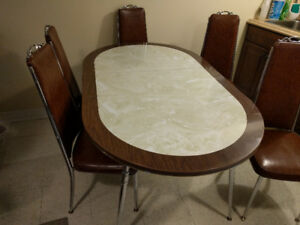 Vintage retro  dining table with chairs