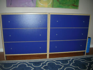IKEA BLUE DRAWERS CHEST- 2 UNITS WITH 3 DRAWERS DRESSER