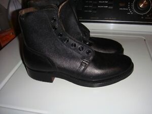 BRAND NEW MENS BLACK LEATHER BOOTS  -  WITH TAPS