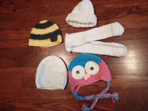 winter tuques for toddler girl 12-24m, EUC