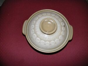 ASIAN POTTERY CASSEROLE DISH WITH VENTED LID