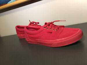 Unisex Red and Gold Vans. Men size 6.5