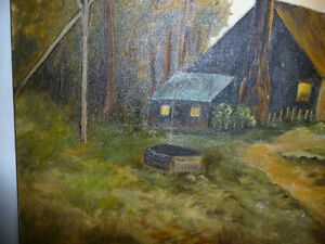 """Vintage Cabin on a Hill by G. Eastman """"Homestead"""" Oil Painting Stratford Kitchener Area image 9"""
