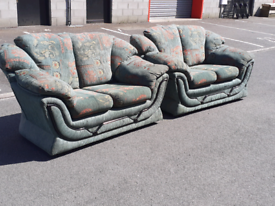 Pair of Green Fabric 2 Seater Sofas