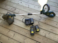 Yard works electric weedeater,charger,2 batteries