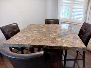 Moving Sale - Beautiful Cultured Stone Dinning Table & 6 chairs