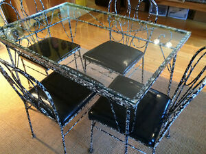 One of a kind vintage wrought iron dining table set