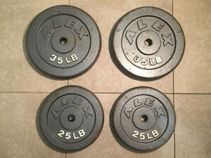 Iron weight plates / poids en fonte 2 x 35 lbs and 2 x 25 lbs